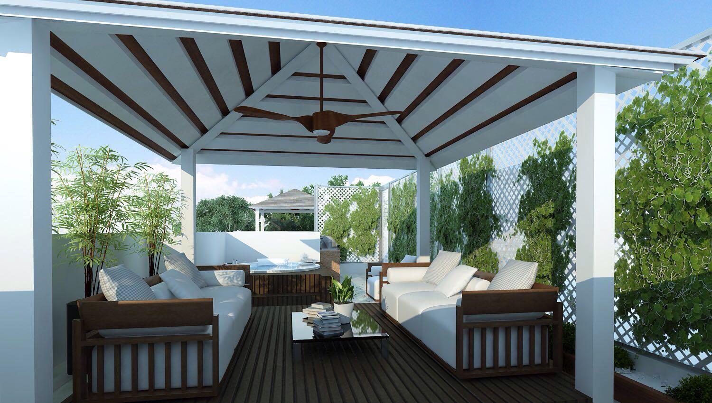 el penthouse dispone de metros cuadrados extra con esta terraza sobre el techo que incluye medio bao jacuzzi y rea para bbq